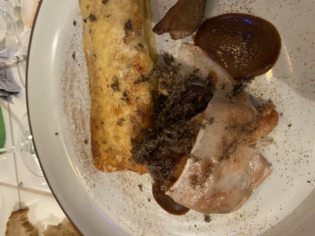 Paleron De Veau, Gratin De Macaronis à La truffe, Lard Di Colonnata